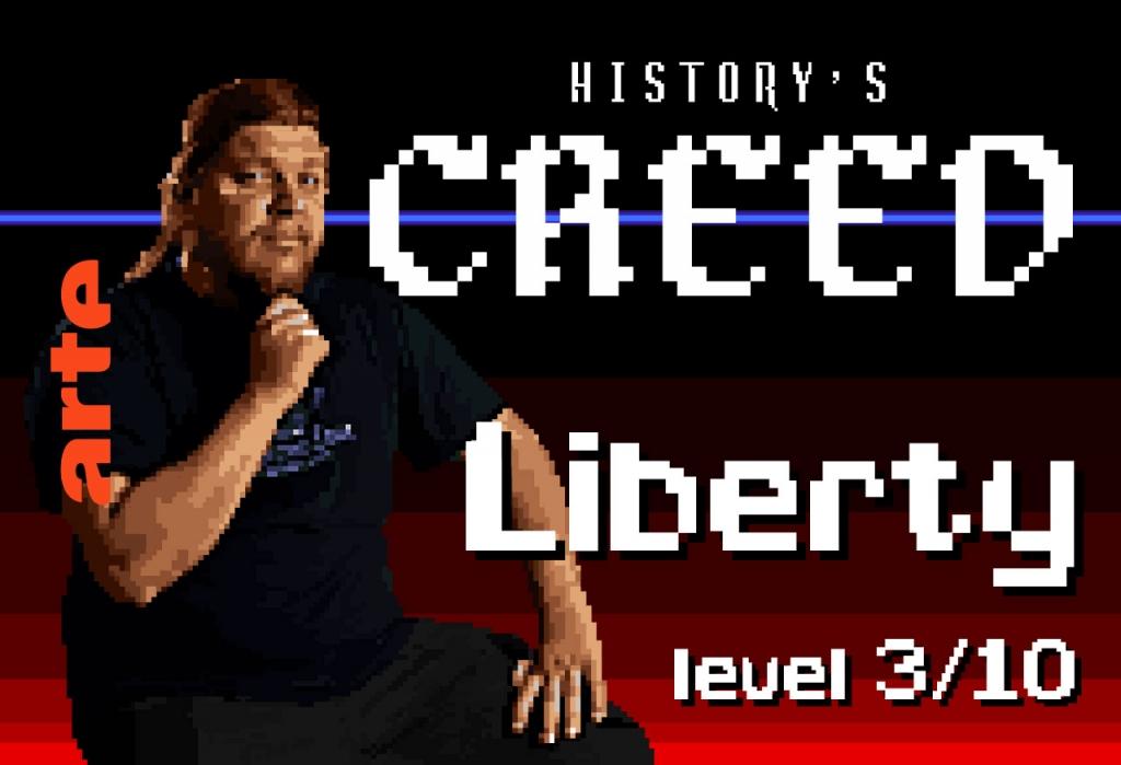 """Épisode 3 – LIBERTY  Plus ça a l'air vrai, plus cela risque d'être faux. Ubisoft prend des libertés avec l'histoire, mais défend son """"tourisme historique"""", nouvelle tendance du moment."""