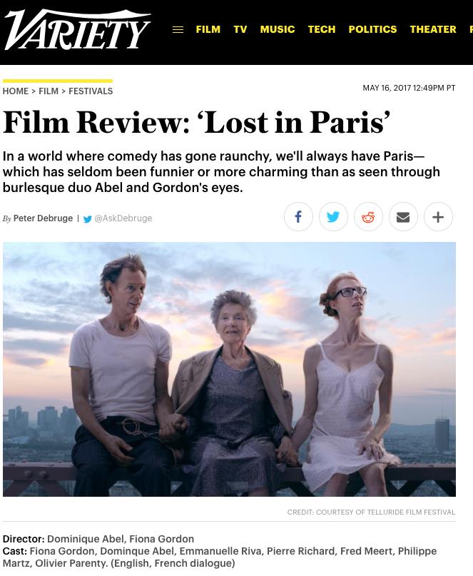 Variety Lost In Paris
